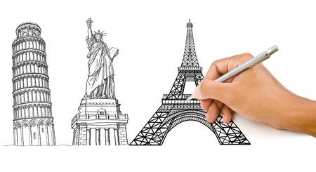 유명한: 피사의 탑, 에펠 탑 및 건설 자유 라인의 동상을 그리는 손 스톡 사진