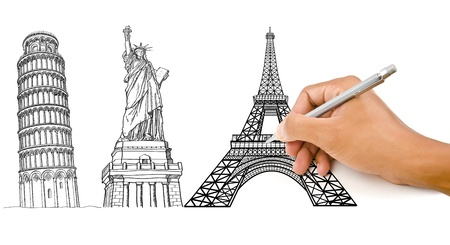 Hand drawing Pisa Tower, Eiffel Tower and Statue of Liberty line for construction