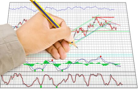 Hand write finance graph for trade stock market on the whiteboard Stock Photo - 14503427