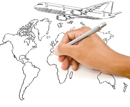 Hand Drawing world map globe with airplane for travel around the world  photo