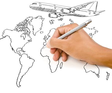 Hand Tekening kaart van de wereld wereldbol met vliegtuig voor de reis rond de wereld
