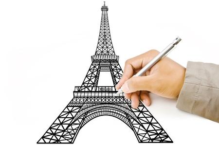 Hand tekening Eiffeltoren lijn in Parijs voor de bouw Stockfoto - 14574733