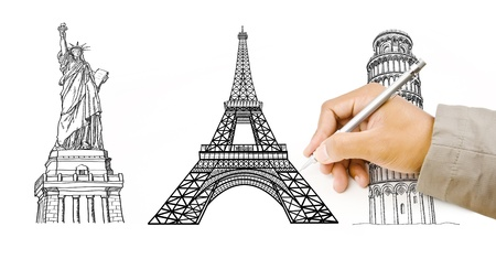 Hand Drawing Statue of Liberty, Pisa Tower, Eiffel Tower for travel around the world  photo