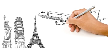 pisa tower: Hand Drawing Airplane for travel around the world with Pisa Tower, Eiffel Tower and Statue of Liberty