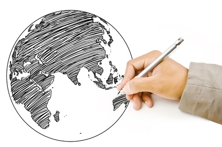 east asia: Hand Drawing World Map Globe line on the whiteboard  Stock Photo