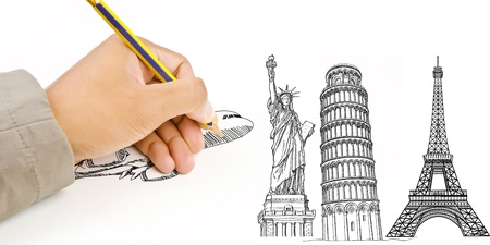 Hand Drawing Airplane for travel around the world with Pisa Tower, Eiffel Tower and Statue of Liberty  photo