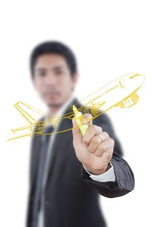 Empresario Avión Dibujo para viajar por el mundo Foto de archivo - 14604427
