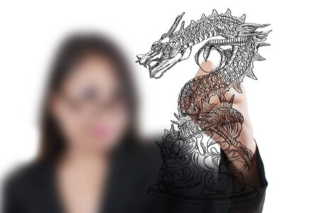 Business Lady drawing Chinese Style dragon statue line  photo