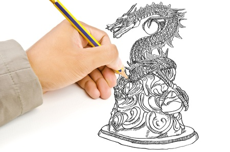 Hand drawing chinese style dragon statue line  photo