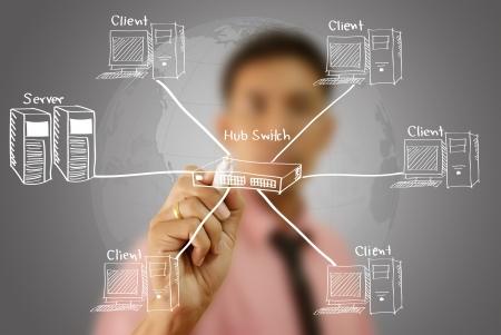 하부 구조: 사업가 화이트 보드에 LAN 네트워크 다이어그램을 작성 스톡 사진