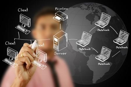 Businessman write LAN Network diagram on the whiteboard  photo