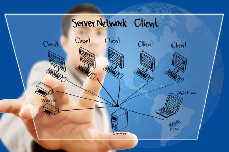 lan: Businessman pushing LAN Network diagram on the Touchscreen Interface  Stock Photo
