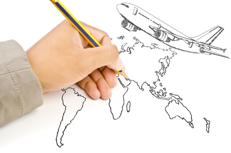 Hand Drawing Airplane for travel around the world Stock Photo - 14810356