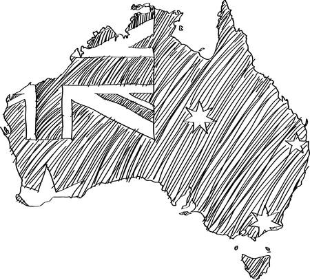 Австралия: Флаг Австралии Карта вектор эскиз вверх.