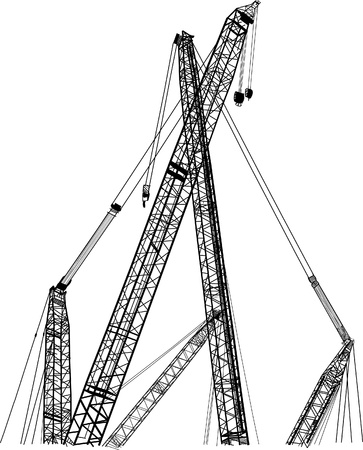 heavy construction: Crane line vector sketch up.