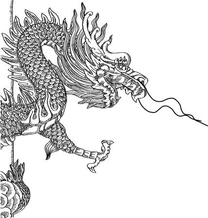 dragones: Estilo chino estatua de drag�n Vector Sketch Up l�nea. Vectores