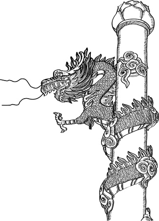 Chinese Style Dragon Statue Vector line Sketch Up. Stock Vector - 14924320