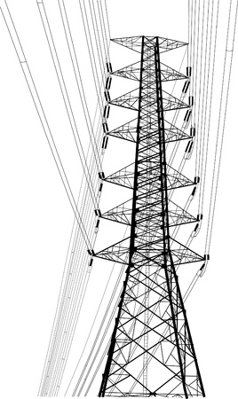 High voltage power pole vector line sketch up. Vector