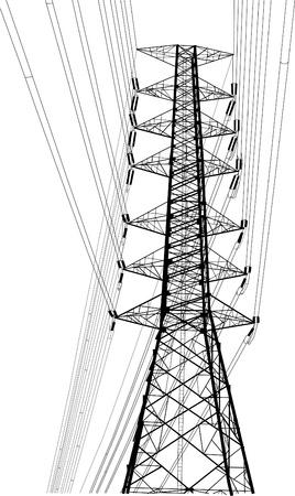 Hoogspanningsvoedingen pole vector lijn sketch up.