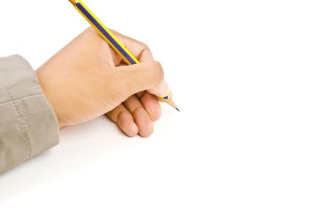 Hand schrijven geïsoleerd op de witte achtergrond