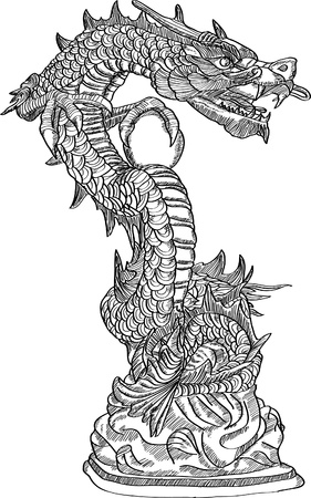 style: Chinese Style Dragon Statue line Sketch Up