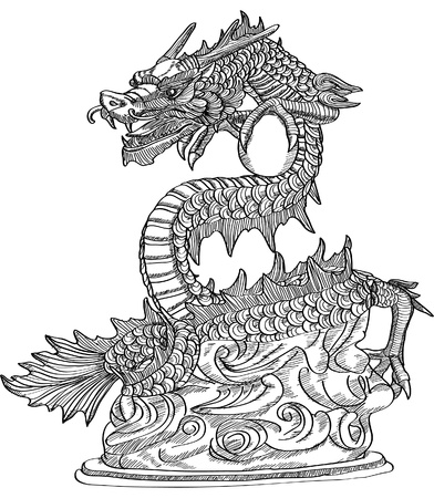 sketch: Chinese Style Dragon Statue line Sketch Up