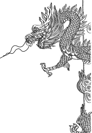 black and white dragon: Chinese Style Dragon Statue line Sketch Up