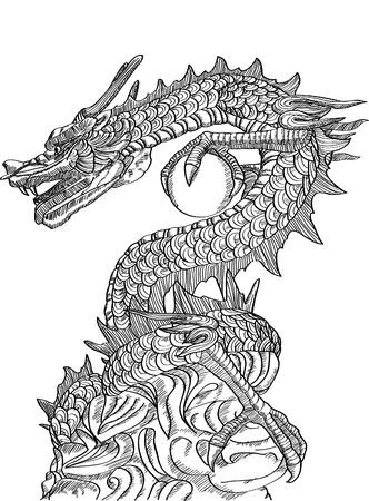 dragon tribal: Dragon chinois Style de ligne Statue Sketch Up