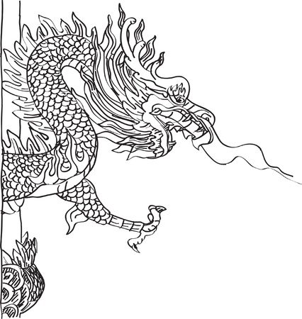 Chinese Style Dragon Statue line Sketch Up  Stock Vector - 14974825