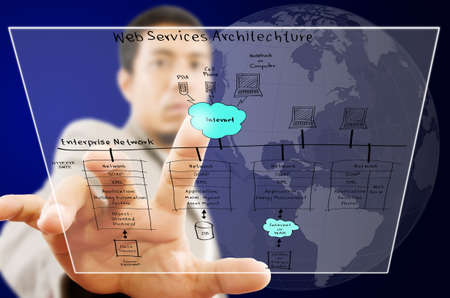 Businessman pushing web service diagram on the Touchscreen Interface  Stock Photo - 14968170
