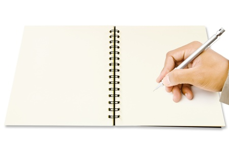Hand writing on Blank Notebook isolated on the white background  photo