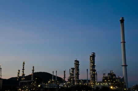 Petrochemical industry on sunset dark blue sky  photo