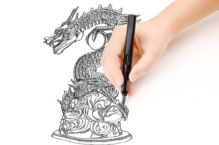 Hand drawing chinese style dragon statue line sketch up  photo