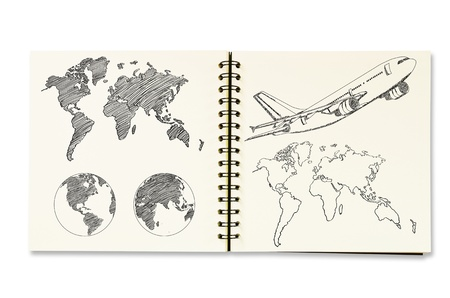 Earth Globe and World Map Detail sketch up on the notebook   photo