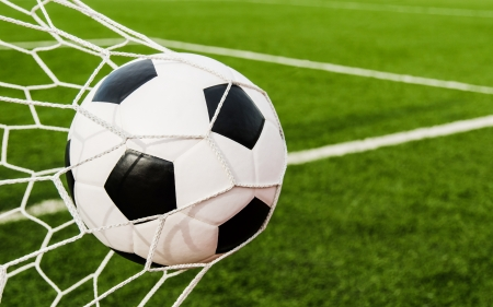 Soccer football in Goal net with green grass field  Stock Photo - 15372256