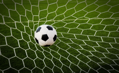 Soccer football in Goal net with green grass field  Stock Photo - 15372214