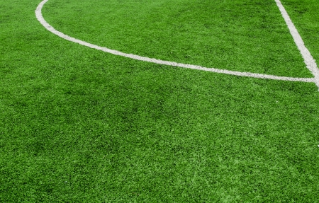 Soccer field line on green grass  photo