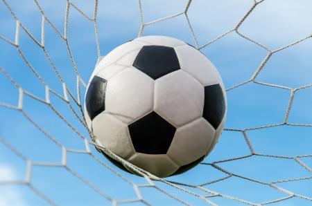 Soccer football in Goal net with sky field 版權商用圖片 - 15711631