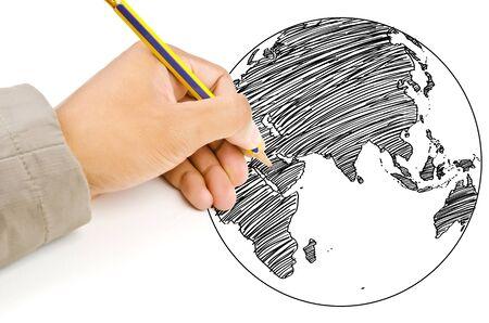 Dibujo a mano world map globe lnea en la pizarra fotos retratos dibujo a mano world map globe lnea en la pizarra photo gumiabroncs Choice Image