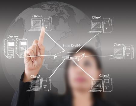 equipos: Negocios se�ora empujando diagrama de red LAN en la pizarra