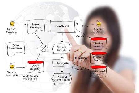 Business lady pushing web service diagram on the whiteboard  Stock Photo - 16269161