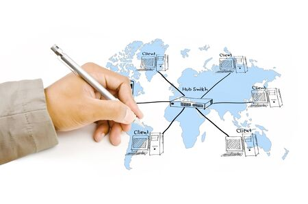 Hand write LAN Network diagram on the whiteboard  Stock Photo - 16215118