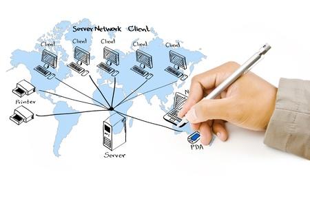ferragens: A mão escreve diagrama de rede LAN na lousa