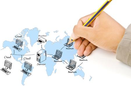 Hand schrijven LAN-netwerk diagram op het whiteboard