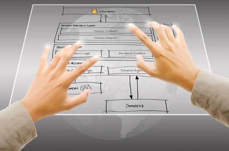 Hand pushing web service diagram on the Touchscreen Interface  Stock Photo