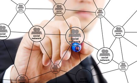 Businessman write Social Network diagram  photo