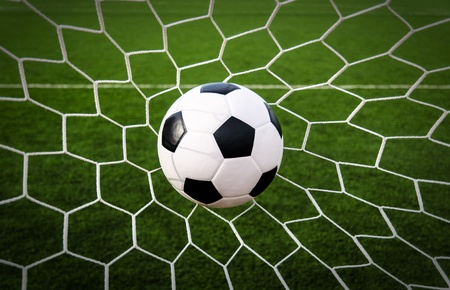Soccer football in Goal net with green grass field Stock Photo - 16215318