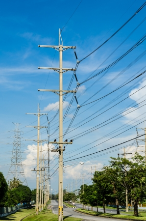 dielectric: High voltage pole with Blue Sky field in Estates Zone  Stock Photo