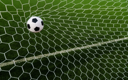 Soccer football in Goal net with green grass field  Stock Photo - 16215493