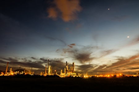 Oil refinery plant at twilight dark blue sky  Stock Photo - 16215119